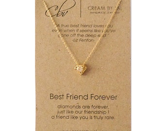 Best Friend Necklace - Gold Silver Diamond Necklace Celebrate Friendship Gift Ideas For BFF Hidden Gem Forever Friend Christmas Gift for BFF