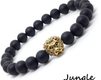 Stretch bracelet with black mat onyx 8mm and Lion head - Christmas gift - Couple bracelet
