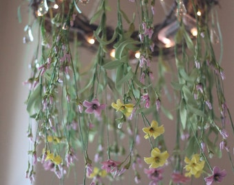 Nursery Room Wildflower Chandelier Mobile Night Light