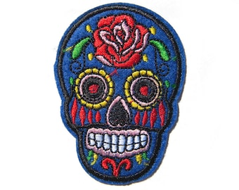 Embroidered Sugar Skull Patch - Iron or Sew On Applique