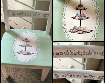 OOAK Handpainted Vintage 1950's Child's Chair Shabby Cupcake Chic