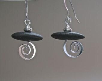 New Work! Silver Swirl Pebble Earrings