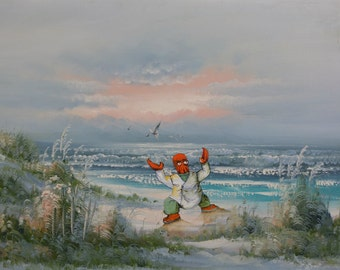 Futurama Parody Painting with Zoidberg, 'Why Not?' - Altered Thrift Art - Print or Poster, Gift for Futurama Fan Zoidberg Dr. Zoidburg Beach