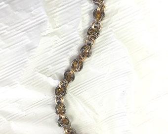 Blackened bronze with topaz swarovski crystals chainmail bracelet