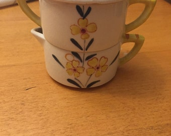 Vintage Personal Stacked Creamer Sugar Set Yellow Flower 'mini'
