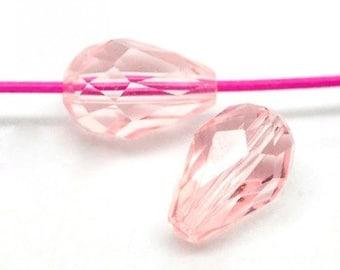 10 - Crystal Loose Light Salmon Transparent Faceted Teardrop Beads