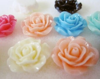 10 - Mix Resin Rose Cabochons