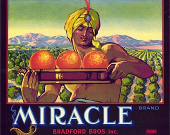 Miracle Brand Orange Crate Label with Genie