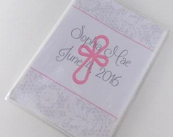 Dedication Ceremony Baby Girl Photo Album PRINTED White Lace Pink Cross Newborn Baby Gift Custom Picture Album 4x6 or 5x7 660
