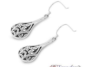 Womens Sterling Silver Teardrop Filigree Dangling Earrings 40mm