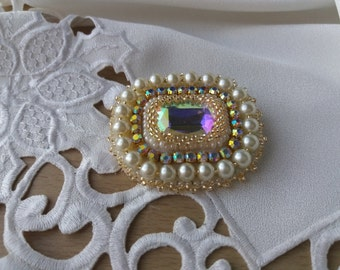 Bead embroidery Brooch