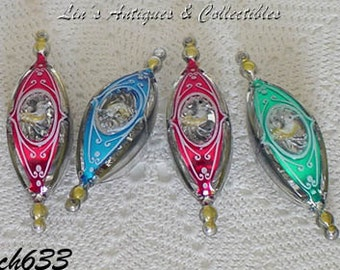 Lot of 4 Vintage Plastic Ornaments with Birds in Center (Inventory #CH633)