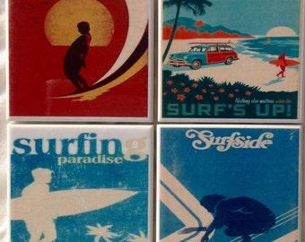 Ceramic Tile Coasters - Retro Surf Collection 045 set of 4