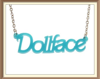 Dollface Acrylic Necklace  / Cute / Pin Up / Vintage / Holiday /