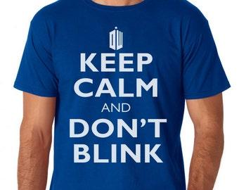 Doctor Who Keep Calm Don't Blink Logo Mens Shirt