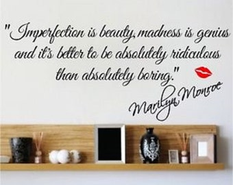 Marilyn Monroe Wall Decal Imperfection is Beauty