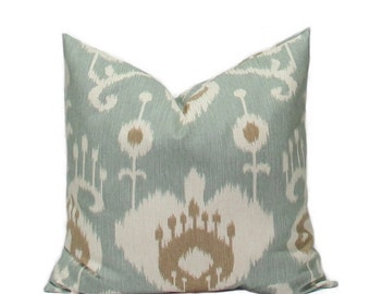 SALE Ikat pillows Decorative Throw Pillow Covers Accent Pillows Cushion Covers 22 x 22 Inches Ikat Java Spa