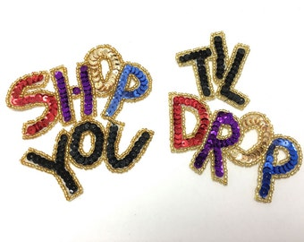 "Shop Til You Drop Applique, Two Pieces, Sequin Beaded 7"" x 4"" Total  -15608"