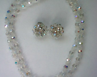 Austrian Crystal Aurora Borealis Glass Bead Necklace with Clip Earrings - 4710