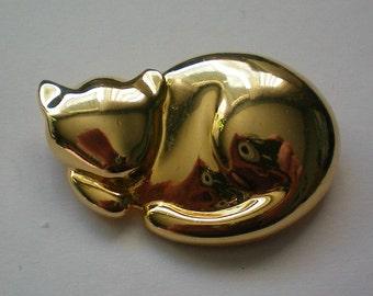 1994 Liz Claiborne Gold tone Cat Pin - 4443