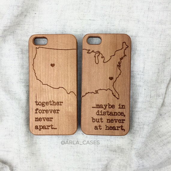Long Distance Relationship Wood Iphone 6 Case, Laser Engraved Wood iPhone 5 Case, Couples Wood iPhone 5 Case, Customizable iPhone 4 Case