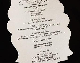 Wedding Dinner Menu, Die Cut Wedding Menu, Reception Menu, Bridal Shower Menu, Event Menu, Corporate Menu, Black, Navy, Gold