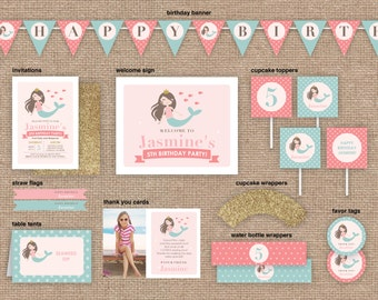Girl Mermaid Birthday Package, Invitation and Party Decor, Pink and Glitter, DIY Printable