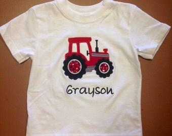 Boys Tractor Shirt applique