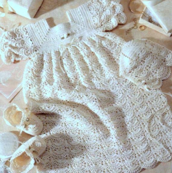 Vintage Crochet Baby Dress Pattern : Vintage Crochet and Pattern PDF Baby Christening Sets Dress
