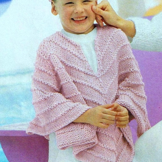 Vintage Knitting Pattern Poncho Cape Wrap PDF Girls 4-6 and