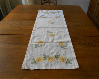 Vintage Cross Stitch Hand Embroidered Yellow Rose Linen Dresser Scarf Table Runner Circa 1960's