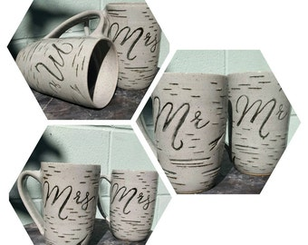 Mr. and Mrs. birch mugs black and grey, made to order, set of two mugs