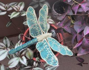 Dragonfly Art - Home Decor - Housewarming Gift - Bridesmaid Gift - Birthday Gift - Olive & Teal Velvet