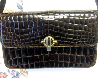 Authentic Rare APPIANI Vintage Brown ALLIGATOR Leather Handbag Purse