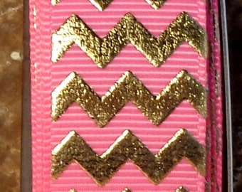 "2 Yards 7/8"" Hot Pink with Gold Chevron - Zig Zag Print - U.S. Designer"