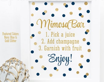 Mimosa Bar Party Sign - Navy Blue Gold Glitter Baby or Bridal Shower Decorations - Monograms and Mimosas - Birthday Printable 8x10 Sign