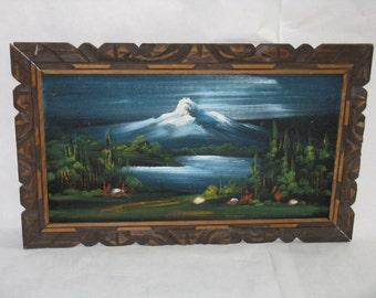 Vintage original oil painting on velvet framed mountainscape