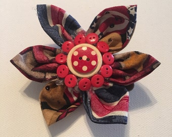Red White & Bloom Flower Hair Clip (4th of July/Memorial Day/Veterans Day)