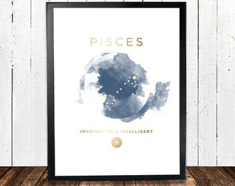 Pisces Gold Foil Constellation Hororscope Print