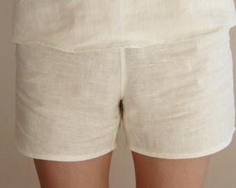 Womens linen pajama shorts, French pajama shorts, linen clothing, CollectionWN