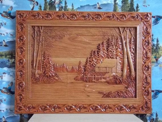Cabin wall decor log cabin wood carving duck hunting wall for Cabin in the woods wall mural