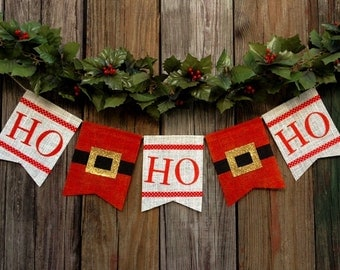 HO*HO*HO - Burlap Banner/Bunting - Christmas Holiday Mantel Wall Decoration Decor - Santa Photo Prop