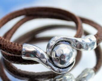 synthetic leather wrap Bracelet, Woman open wrap Bracelet, vegan, magnetic closure