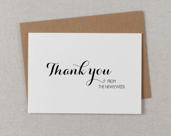 5 x Thank you from the Newlyweds - Wedding Thank You Cards, Wedding Thank You Card - Newlyweds Wedding Card, Wedding Guest Thank You, K6