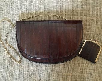 Vintage EEL Skin Purse, brown habdbag and coin purse, 70s/80s bag, soft Eel skin