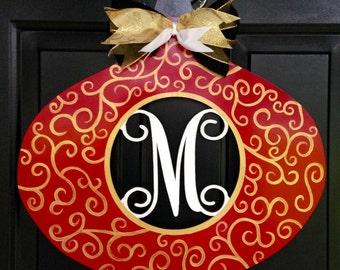 Ornament Door Hanger, Ornament Initial Door Hanger, Holiday Door Hanger, Custom Door Hanger