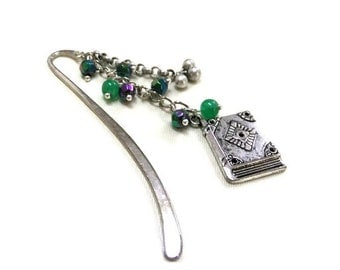 SALE! Silver Book Charm Beaded Bookmark, Green Bead Bookmark, Silver Metal Bookmark, Green Bookmark, Student Gift, Teacher Gift, Booklovers