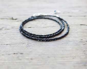 Minimalist black spinel necklace. Black spinel triple wrap bracelet.