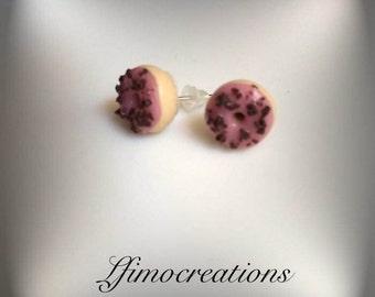 Earrings polymer clay handmade glazed donut