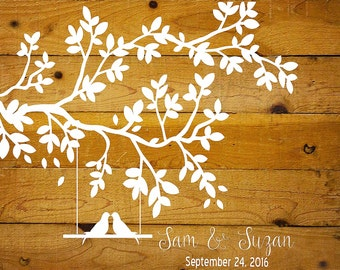 Custom Love Birds on a Branch - Reusable STENCIL- 4 Sizes Available- Wall Stencil- Create Wedding and Romantic signs yourself!